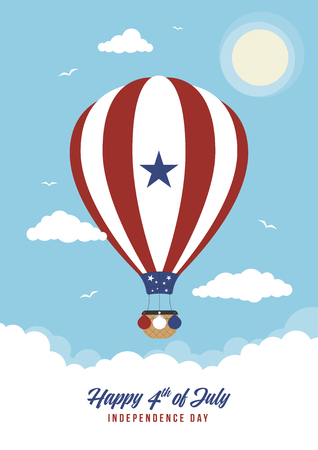 A hot air balloon with 4th July banner Ilustração