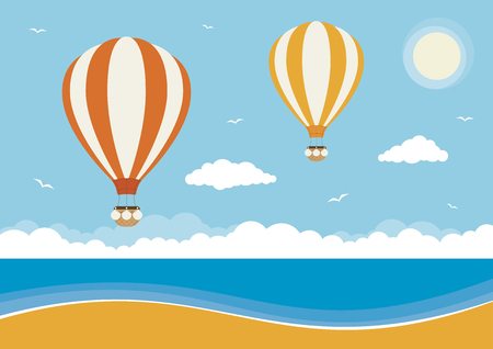 Hot air balloons flying over a beach