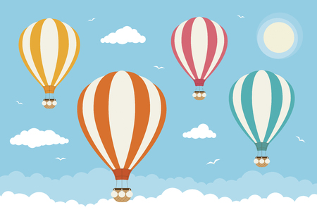 Hot air balloons flying above the clouds Illustration