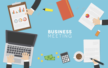 A business meeting with various business related items including a computer, paperwork and money. Illustration