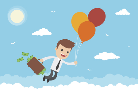A businessman floating away by balloons with briefcase full of money