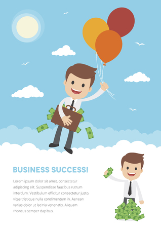 Flyer template with a businessman floating away by balloons with briefcase full of money Ilustração