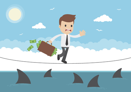 A businessman with briefcase full of money walking over sharks on a tightrope