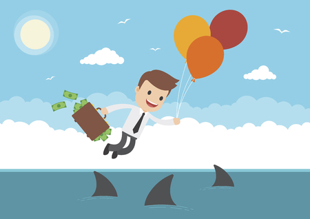 A businessman with briefcase full of money floating over sharks with balloons