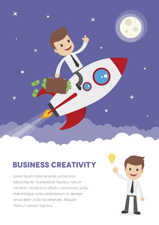 Flyer template with a cartoon businessman on a space rocket with briefcase full of money.