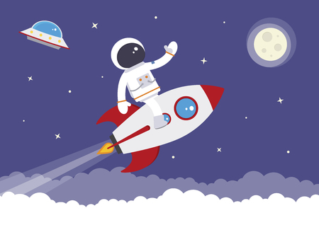 A cartoon spaceman on a space rocket Illustration