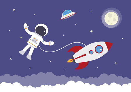 A cartoon spaceman attached to a space rocket Illustration