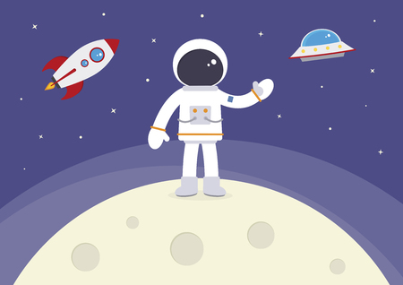 A cartoon spaceman standing on the moon. Illustration