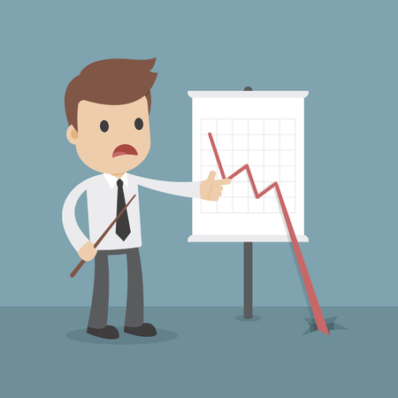 A cartoon businessman wth a business loss chart with line crashing through the floor Ilustração