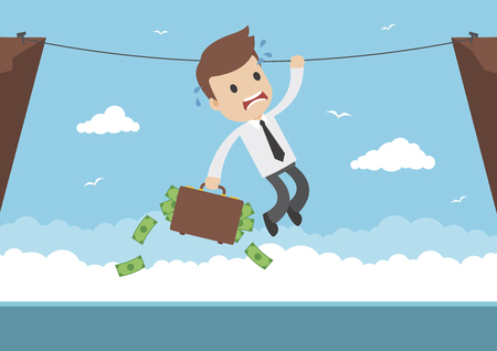 A businessman with briefcase full of money hanging from a rope Illustration