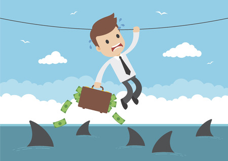 A businessman with briefcase full of money hanging from a rope over sharks Illustration