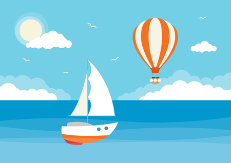 An ocean scene with a sailing boat and a hot air balloon in the sky. Illustration