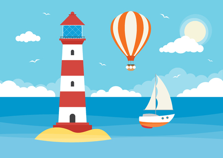 A sailing boat and lighthouse in an ocean on a sunny day with clouds and hot air balloon Ilustração