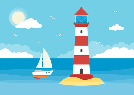 A sailing boat and lighthouse in an ocean on a sunny day with clouds