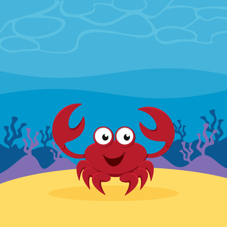A cartoon crab on sand in the deep sea