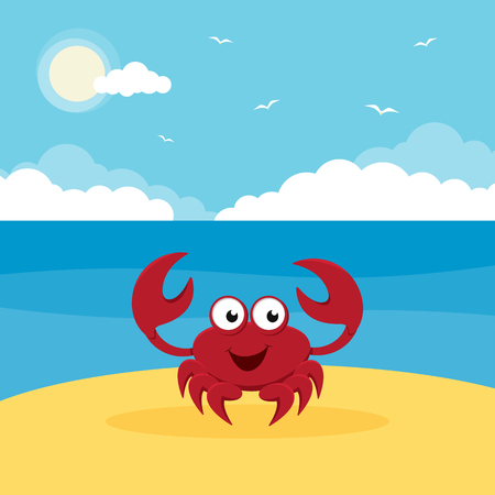 A cartoon crab on sand near the sea