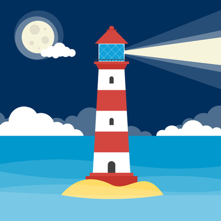 A lighthouse shining a warning light at night