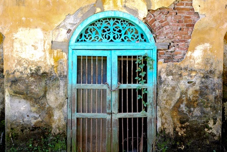 old door: gate puzzles. Stock Photo