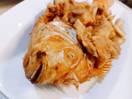 Crispy fried ruby fish, Thai delicious asia food in white plate.