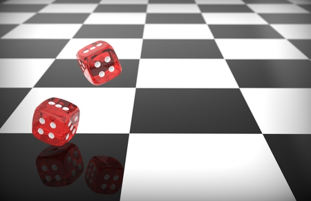 rolling dice: Rolling red dice over chess surface Stock Photo