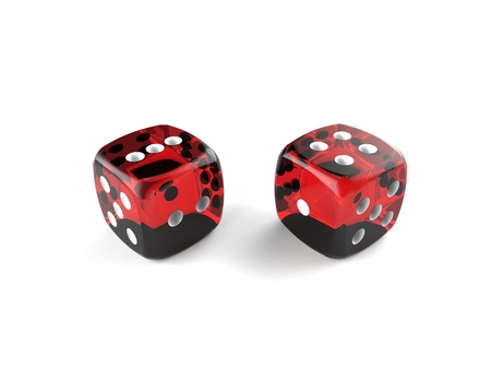 rolling dice: Rolling red dice isolated on a white background Stock Photo
