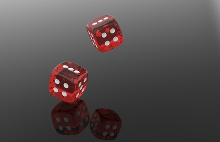 red dice: Rolling red dice over black grey background