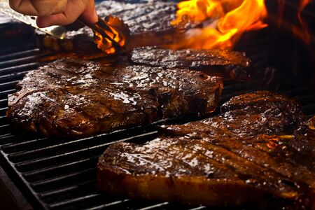 Delicious Barbequed Steak Stock Photo