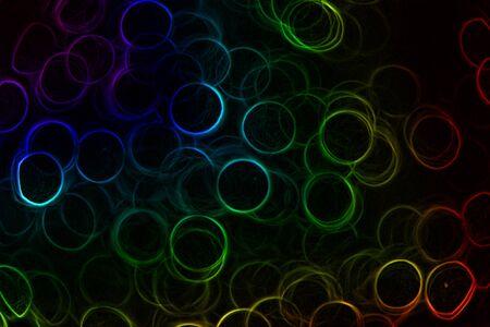 추상 네온 무지개 검정색 배경에 반지 색깔 스톡 콘텐츠