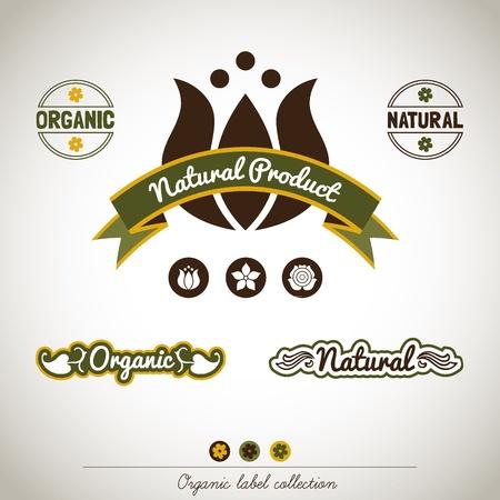 planta de cafe: Colección Orgánica de la etiqueta del vintage