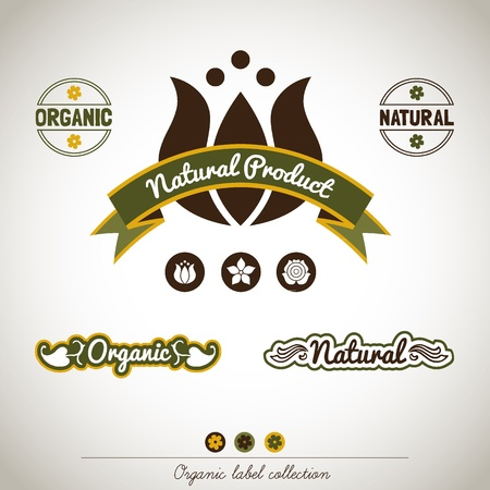 Organic Vintage Label Collection Vector