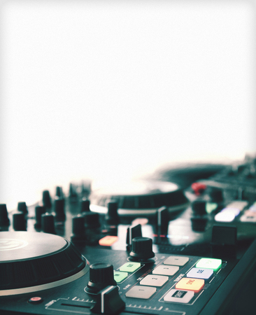 turntables: Close up of turntables with room for ad copy Stock Photo