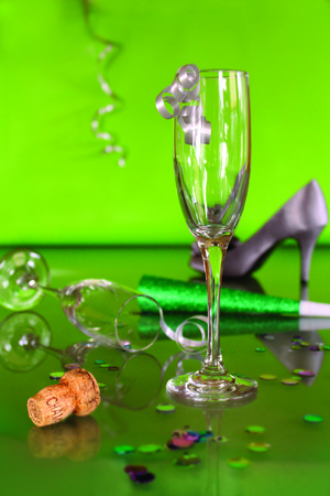 graduation countdown: Party favors with champagne glasses and cork Stock Photo