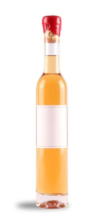 Ice wine bottle with red wax top and a blank label on a white background.