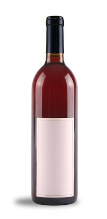 Red wine bottle with blank label on a white background Фото со стока