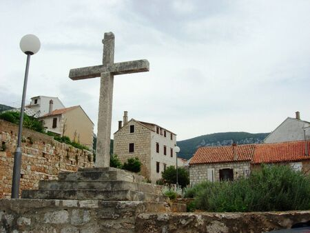 Stone Cross in Vis Town Croatia