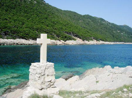 mountainside: Stone Cross on Island of Mljet Croatia Stock Photo