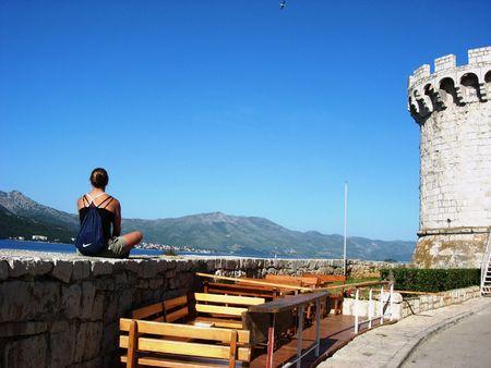 Meditation on the Island of Korcula, Croatia Banco de Imagens