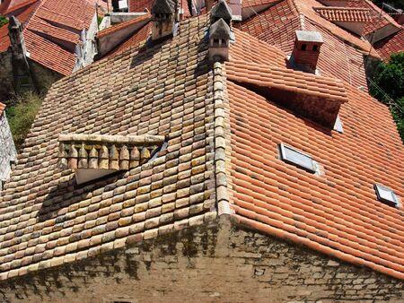 Roofs of Old Town Dubrovnik, Croatia Banco de Imagens