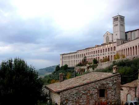 st  francis: Hillside of St. Francis Cathedral, Assisi, Italy, Umbria