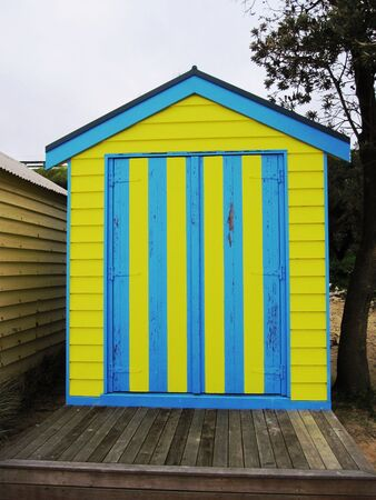Blue and Yellow Bath HouseBoat Shed on Mills Beach, Mornington Peninsula - Melbourne, Australia