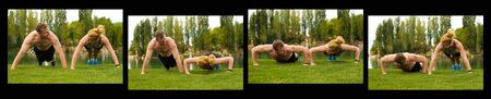 A man and woman in the various stages of a pushup. Stock Photo