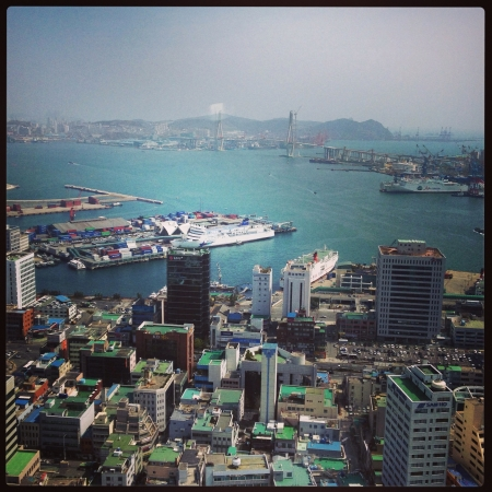 an overview: Busan harbor overview