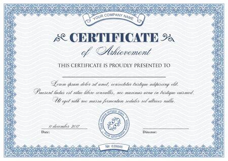 Sjabloon van certificaat of diploma Vector Illustratie
