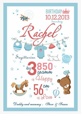 Cartoon template of baby birth certificate for girls. Named rachel