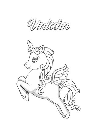 Little flying magical unicorn for a coloring book