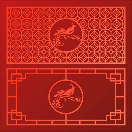 Chinese pattern red background with bird
