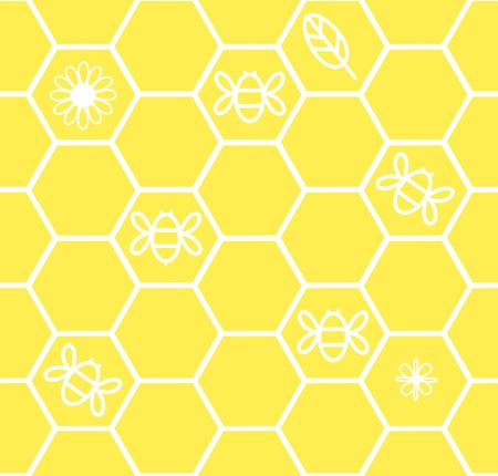 country side: Honeycomb seamless background with flower leaf bee Illustration