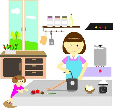 Moeder en dochter maken pasta samen Stock Illustratie