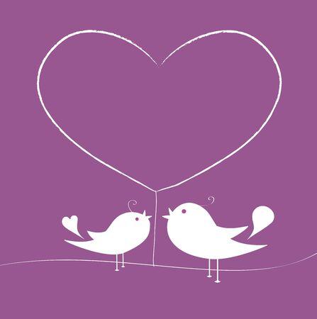 Love birds under a tree of heart Vector