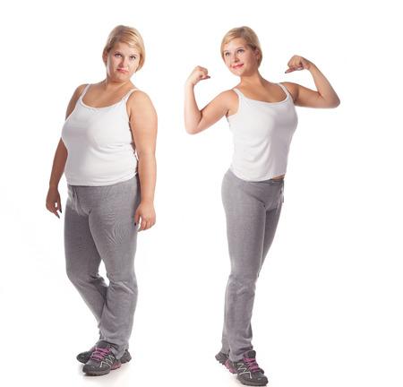 mujeres: hermosa mujer gorda antes y después de la pérdida de peso. rejuvenecimiento